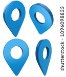 blue map pointer set isolated... | Shutterstock . vector #1096098833