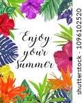 floral card with frame for text ... | Shutterstock . vector #1096102520