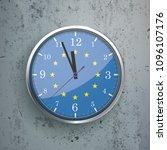 an iron clock with eu flag on...   Shutterstock .eps vector #1096107176