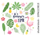summer set  summertime tropical ... | Shutterstock .eps vector #1096115813