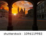 sunrise on the knight hall ... | Shutterstock . vector #1096119983