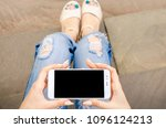 close up white smartphone...   Shutterstock . vector #1096124213
