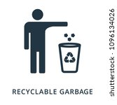 recycling garbage icon. flat...