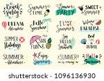 hand drawn set of lettering... | Shutterstock .eps vector #1096136930