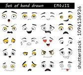 hand drawn set of emoji.... | Shutterstock .eps vector #1096136936