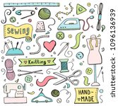 hand drawn set with sewing and... | Shutterstock .eps vector #1096136939