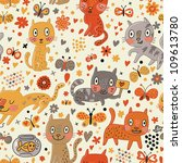 Stock vector funny seamless texture with cats and butterflies endless floral pattern seamless pattern can be 109613780