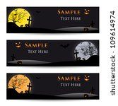 set of halloween banners on a... | Shutterstock .eps vector #109614974