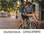 young man and woman riding on a ... | Shutterstock . vector #1096149890
