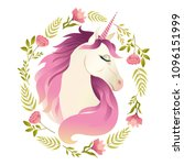 unicorn head in wreath of... | Shutterstock .eps vector #1096151999