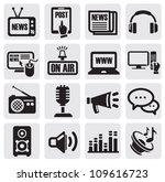vector black media icons set on ... | Shutterstock .eps vector #109616723