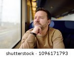 middle age man looking out of... | Shutterstock . vector #1096171793