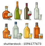 set glass and bottle whiskey ... | Shutterstock .eps vector #1096177673