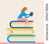 girl sitting on pile of books...   Shutterstock .eps vector #1096178006