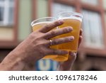 two hands and three full... | Shutterstock . vector #1096178246