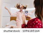 refined girl expressing energy... | Shutterstock . vector #1096185164