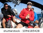 attractive strong woman sailing ... | Shutterstock . vector #1096185428