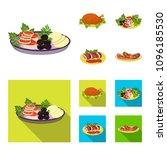 fried chicken  vegetable salad  ... | Shutterstock .eps vector #1096185530
