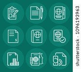 set of 9 document outline icons ... | Shutterstock .eps vector #1096193963