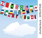 flags of the world bunting on... | Shutterstock .eps vector #109619540