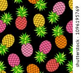 colorful pineapple seamless... | Shutterstock .eps vector #1096195769