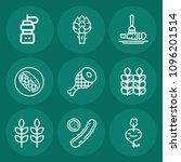 set of 9 food outline icons... | Shutterstock .eps vector #1096201514