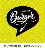 burger logo in bubble cloud...   Shutterstock . vector #1096207790