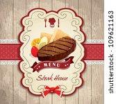 vintage frame with steak  bread ... | Shutterstock .eps vector #109621163