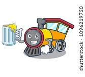 with juice train mascot cartoon ... | Shutterstock .eps vector #1096219730