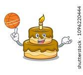 with basketball birthday cake... | Shutterstock .eps vector #1096220444