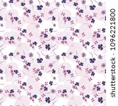pattern with watercolor flowers ... | Shutterstock . vector #1096221800