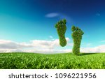 Stock photo sustainable eco friendly lifestile concept d rendering of a footprint icon on fresh spring meadow 1096221956