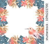 hand drawn watercolor tropical... | Shutterstock . vector #1096222700