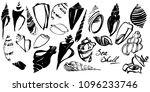 sea shell set. hand drawn ink... | Shutterstock .eps vector #1096233746