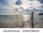 lady or woman relaxing on the... | Shutterstock . vector #1096238624