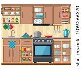 nice kitchen in warm brown... | Shutterstock .eps vector #1096266320