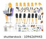 pretty businesswoman   vector... | Shutterstock .eps vector #1096269443