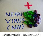 Small photo of Mumbai, Maharashtra, India - May 22,2018: Nipah virus words on paper with the cause of disease and medicines shown