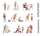 father and son activities set.... | Shutterstock .eps vector #1096294004