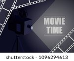 retro movie projector on a blue ... | Shutterstock .eps vector #1096294613