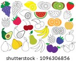 fruits and berries. coloring... | Shutterstock .eps vector #1096306856