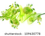 lime juice splash with abstract wave, illustration - stock photo