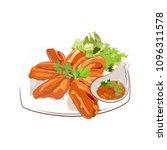 delicious deep fried chicken... | Shutterstock .eps vector #1096311578