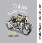 vintage motorcycle with slogan | Shutterstock .eps vector #1096312184