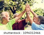 group of senior athletes giving ... | Shutterstock . vector #1096312466