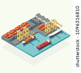 top view cargo logistics and... | Shutterstock .eps vector #1096316810