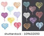 Color Hand Drawn Hearts Set - stock vector