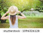 a woman with a backpack and a... | Shutterstock . vector #1096326128