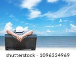 woman relaxing on luxury beach  ... | Shutterstock . vector #1096334969