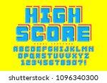 pixel vector font design ... | Shutterstock .eps vector #1096340300
